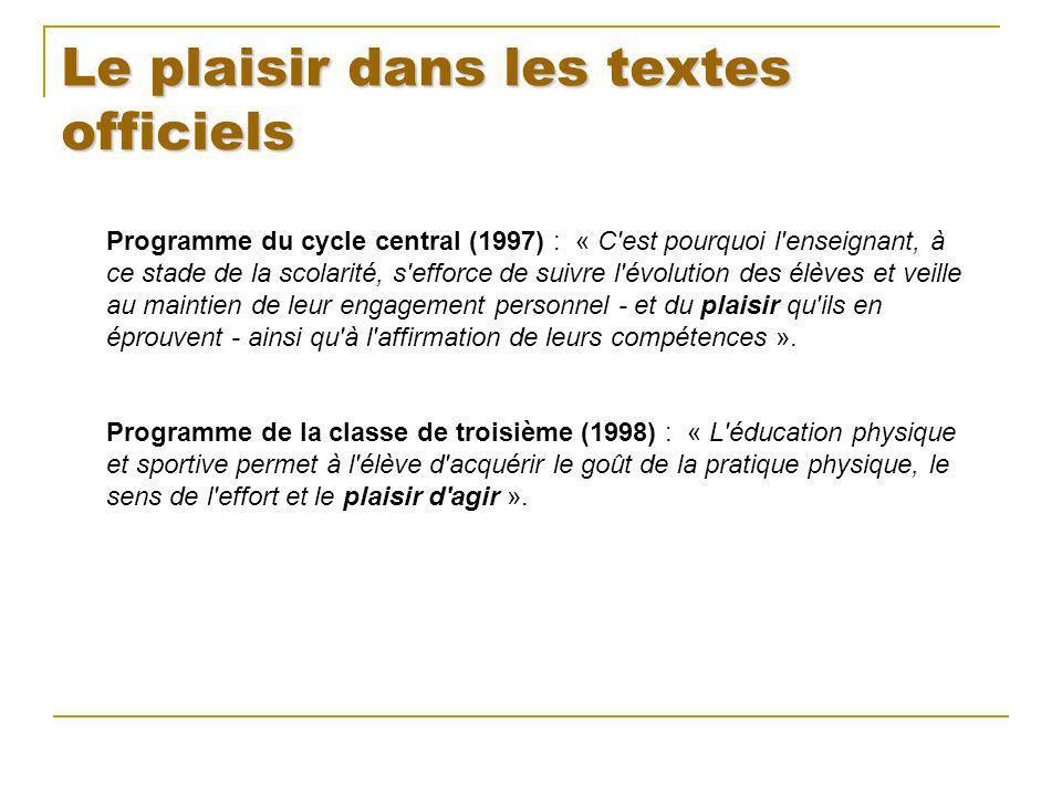 Le plaisir dans les textes officiels Programme du cycle central (1997) : « C'est pourquoi l'enseignant, à ce stade de la scolarité, s'efforce de suivr
