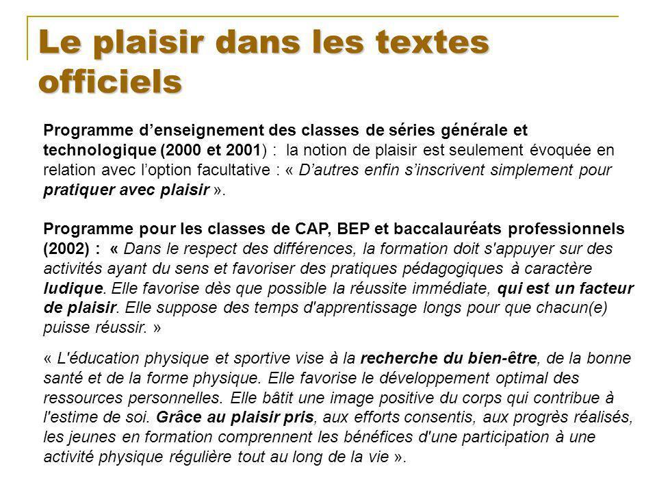 Le plaisir dans les textes officiels Programme denseignement des classes de séries générale et technologique (2000 et 2001) : la notion de plaisir est