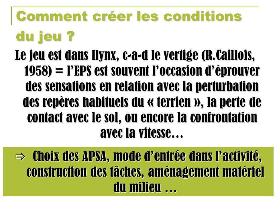 Comment créer les conditions du jeu ? Le jeu est dans Ilynx, c-a-d le vertige (R.Caillois, 1958) = lEPS est souvent loccasion déprouver des sensations