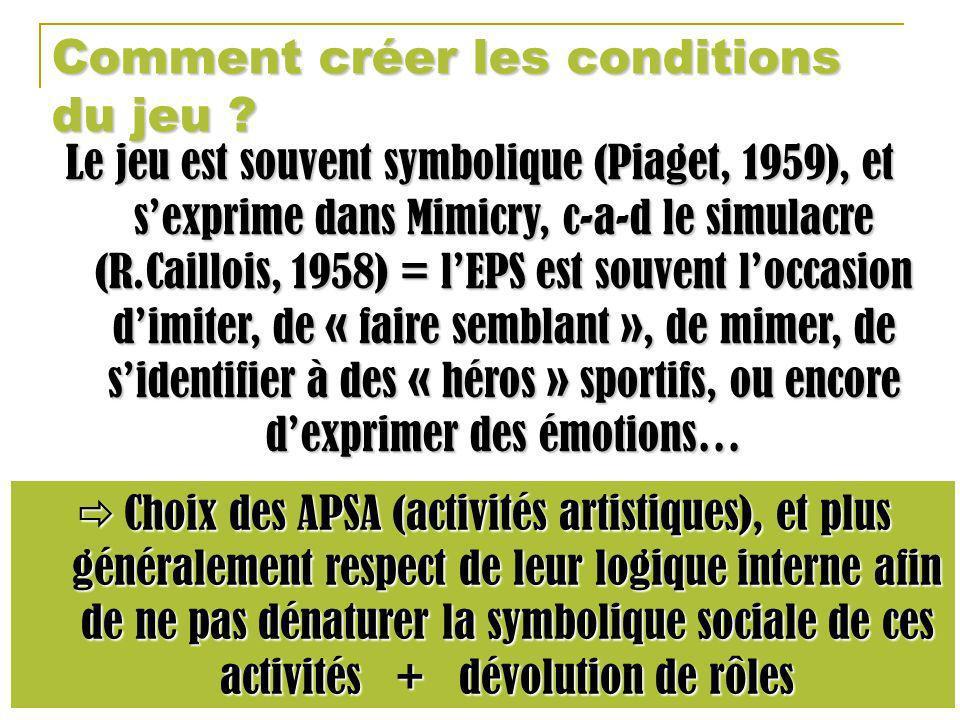 Comment créer les conditions du jeu ? Le jeu est souvent symbolique (Piaget, 1959), et sexprime dans Mimicry, c-a-d le simulacre (R.Caillois, 1958) =