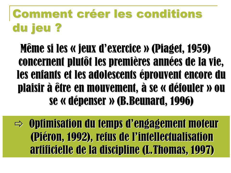 Comment créer les conditions du jeu ? Même si les « jeux dexercice » (Piaget, 1959) concernent plutôt les premières années de la vie, les enfants et l