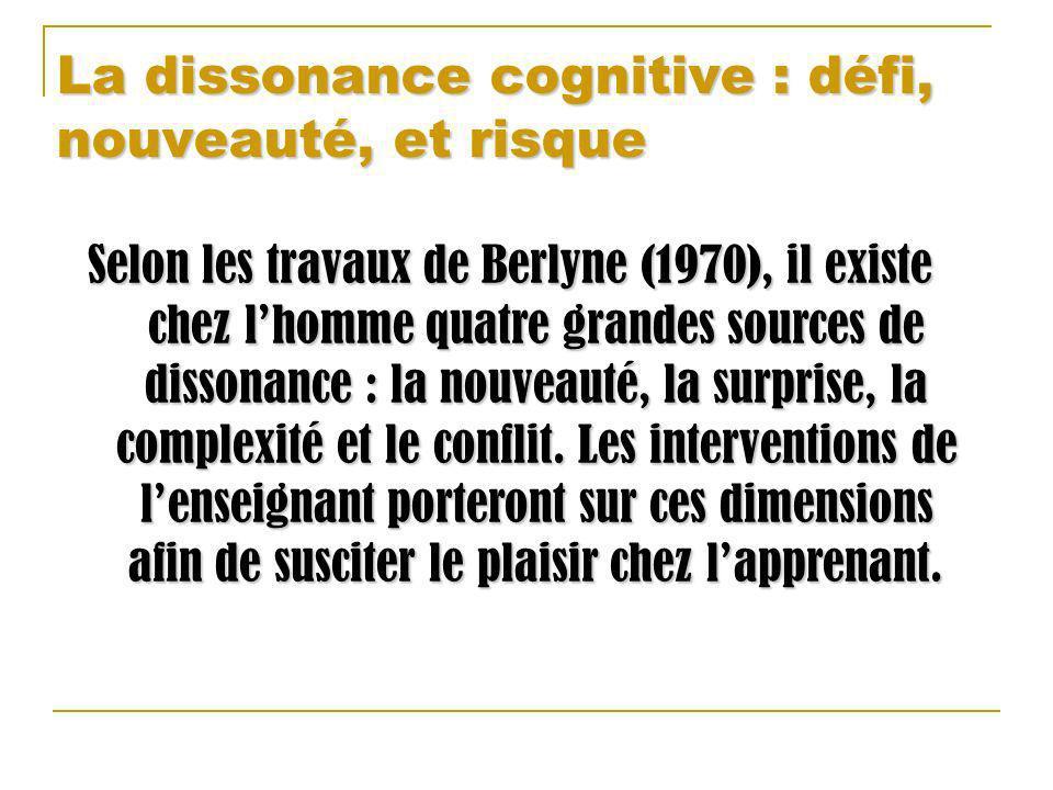 La dissonance cognitive : défi, nouveauté, et risque Selon les travaux de Berlyne (1970), il existe chez lhomme quatre grandes sources de dissonance :