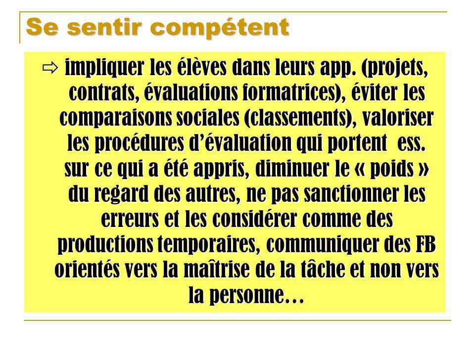 Se sentir compétent impliquer les élèves dans leurs app. (projets, contrats, évaluations formatrices), éviter les comparaisons sociales (classements),
