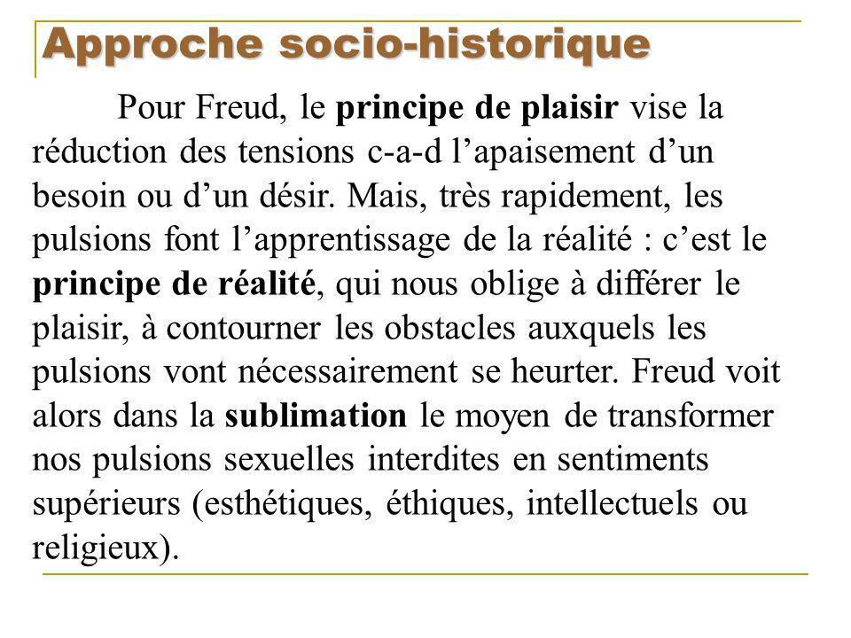 Approche socio-historique Pour Freud, le principe de plaisir vise la réduction des tensions c-a-d lapaisement dun besoin ou dun désir. Mais, très rapi