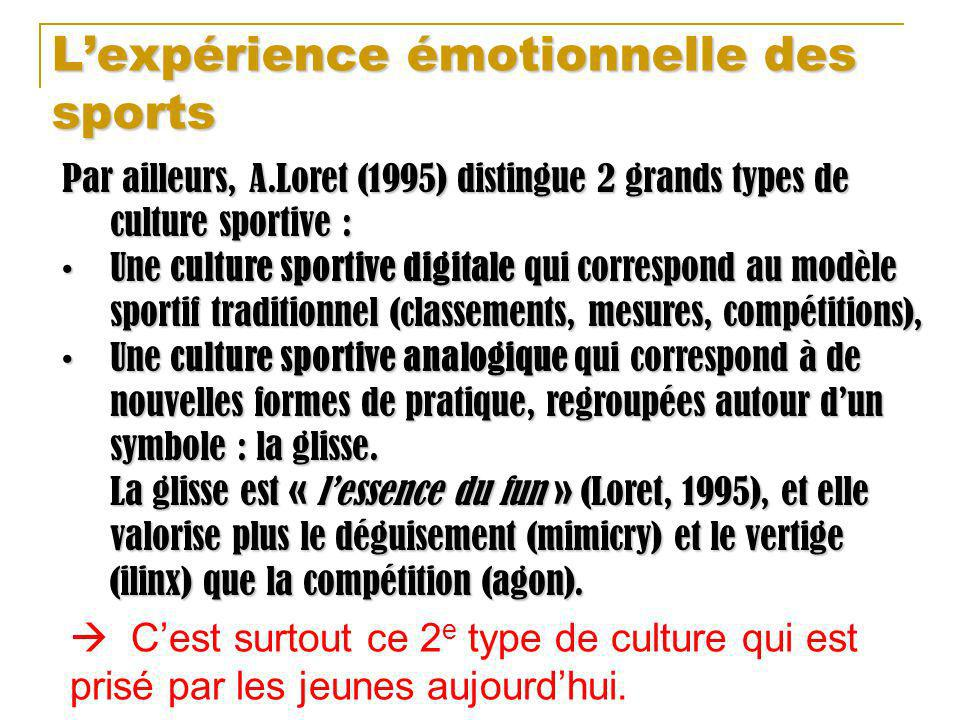Lexpérience émotionnelle des sports Par ailleurs, A.Loret (1995) distingue 2 grands types de culture sportive : Une culture sportive digitale qui corr