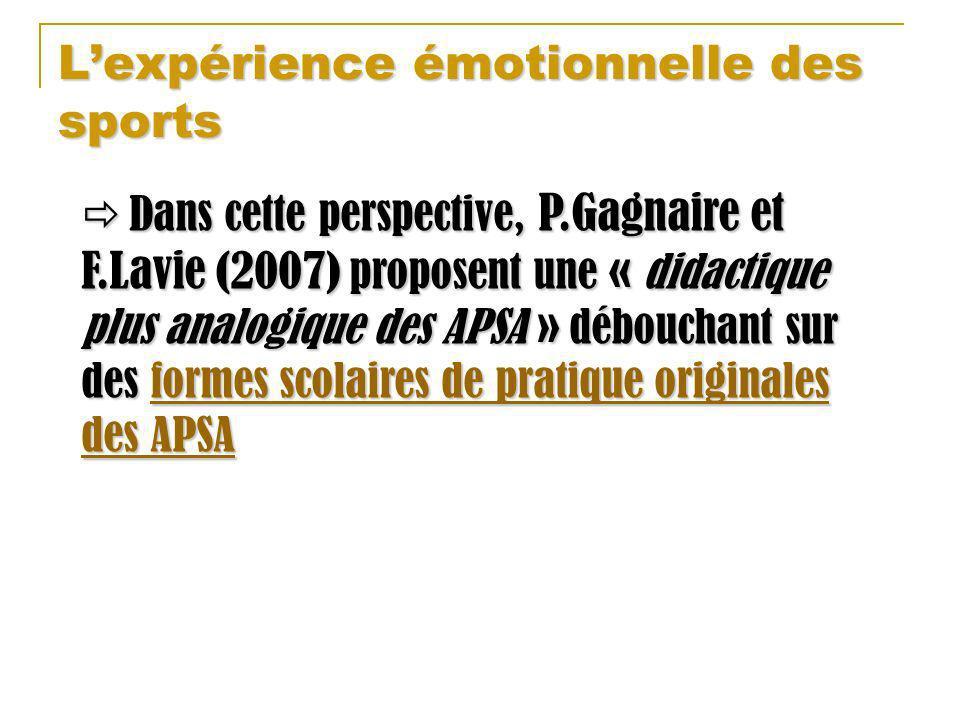 Lexpérience émotionnelle des sports Dans cette perspective, P.Gagnaire et F.Lavie (2007) proposent une « didactique plus analogique des APSA » débouch