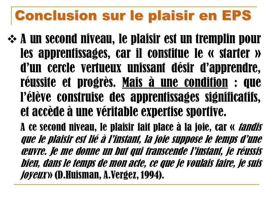 Conclusion sur le plaisir en EPS A un second niveau, le plaisir est un tremplin pour les apprentissages, car il constitue le « starter » dun cercle ve