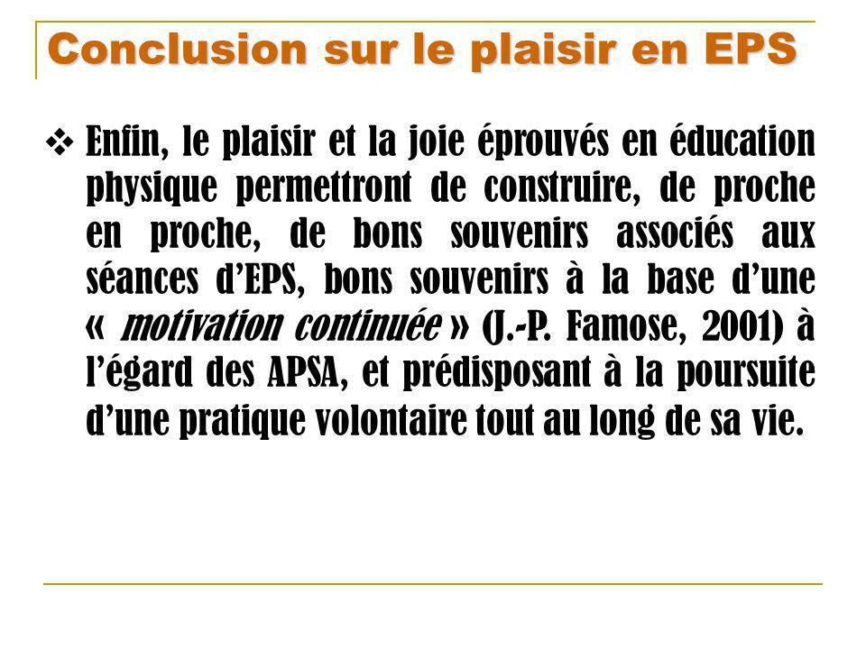 Conclusion sur le plaisir en EPS Enfin, le plaisir et la joie éprouvés en éducation physique permettront de construire, de proche en proche, de bons s