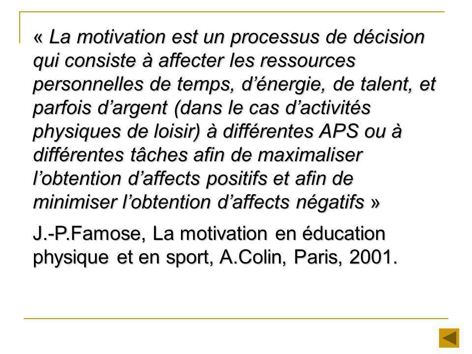 « La motivation est un processus de décision qui consiste à affecter les ressources personnelles de temps, dénergie, de talent, et parfois dargent (da