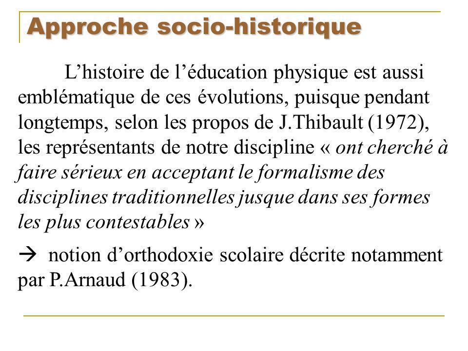 Approche socio-historique Lhistoire de léducation physique est aussi emblématique de ces évolutions, puisque pendant longtemps, selon les propos de J.