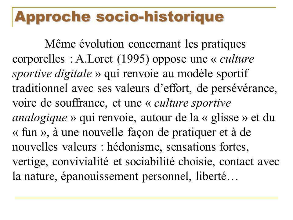 Approche socio-historique Même évolution concernant les pratiques corporelles : A.Loret (1995) oppose une « culture sportive digitale » qui renvoie au