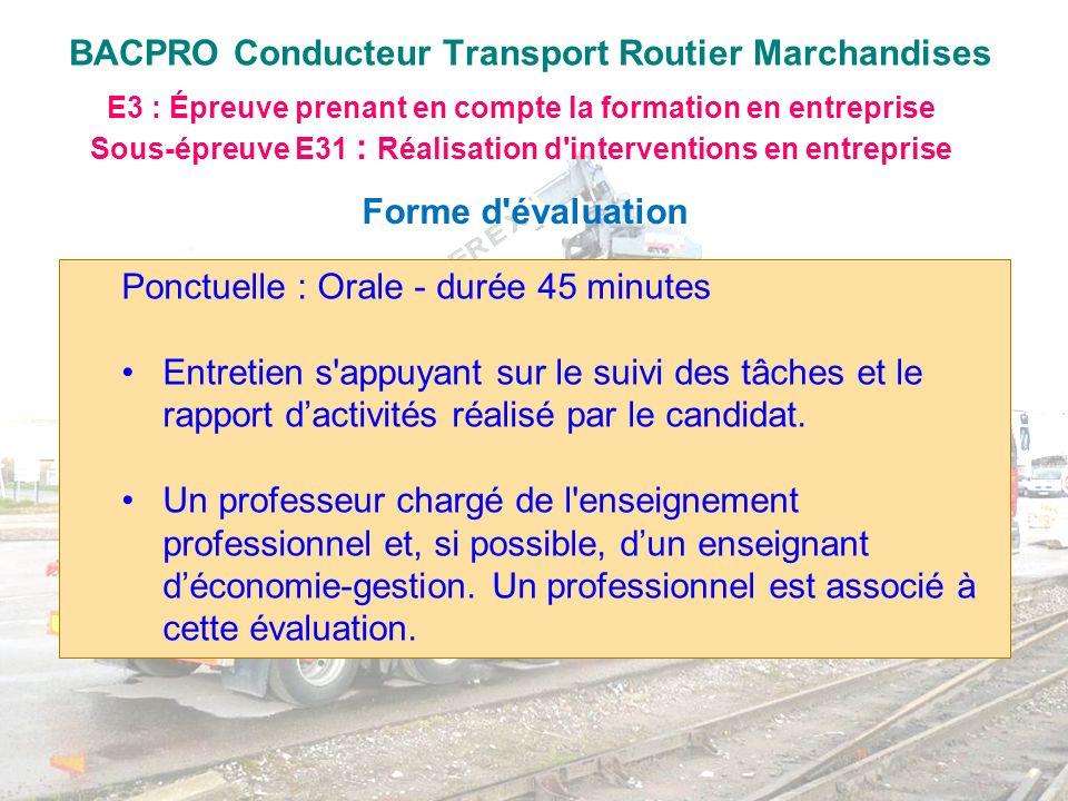 BACPRO Conducteur Transport Routier Marchandises E3 : Épreuve prenant en compte la formation en entreprise Sous-épreuve E31 : Réalisation d'interventi