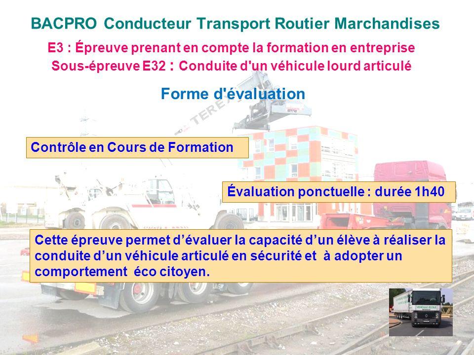 BACPRO Conducteur Transport Routier Marchandises E3 : Épreuve prenant en compte la formation en entreprise Sous-épreuve E32 : Conduite d'un véhicule l
