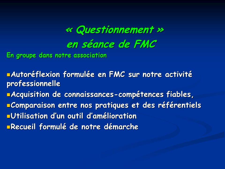 « Questionnement » « Questionnement » en séance de FMC en séance de FMC En groupe dans notre association Autoréflexion formulée en FMC sur notre activ