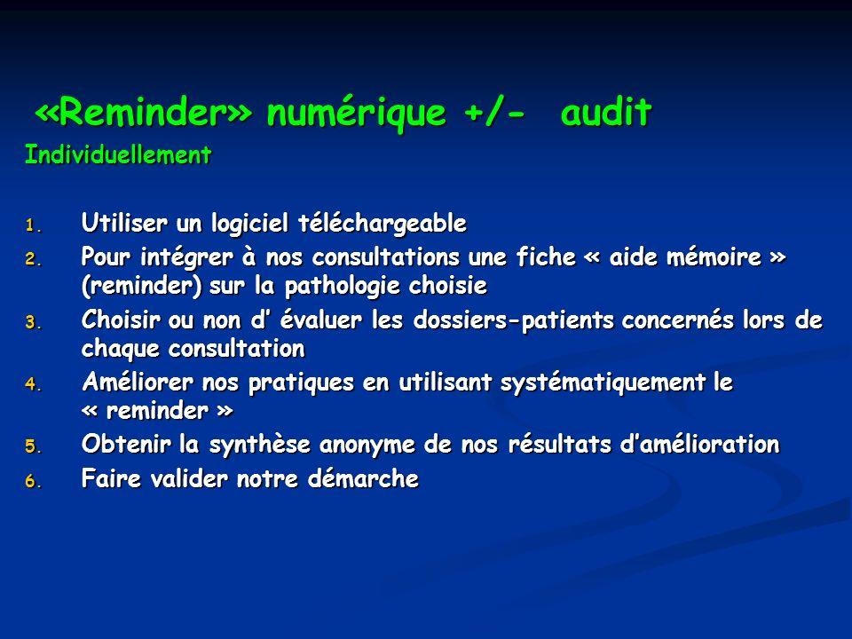 «Reminder» numérique +/- audit «Reminder» numérique +/- auditIndividuellement 1. Utiliser un logiciel téléchargeable 2. Pour intégrer à nos consultati