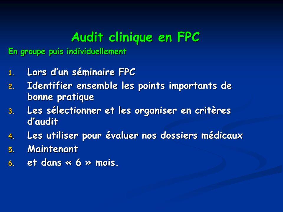 Audit clinique en FPC Audit clinique en FPC En groupe puis individuellement 1. Lors dun séminaire FPC 2. Identifier ensemble les points importants de