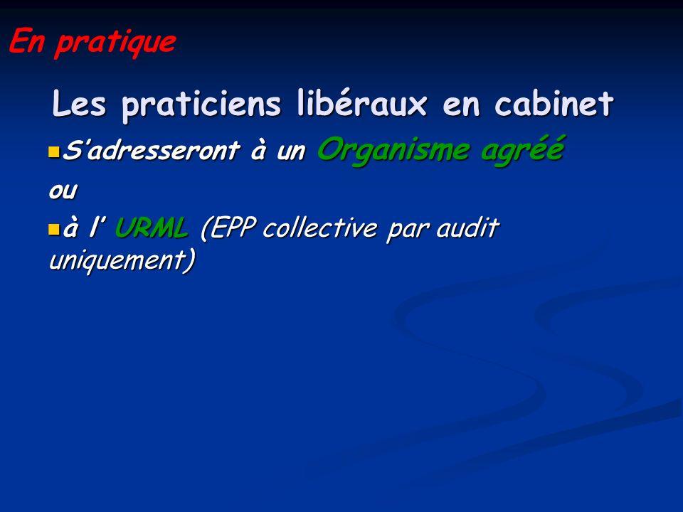 Les praticiens libéraux en cabinet Sadresseront à un Organisme agréé Sadresseront à un Organisme agrééou à l URML (EPP collective par audit uniquement