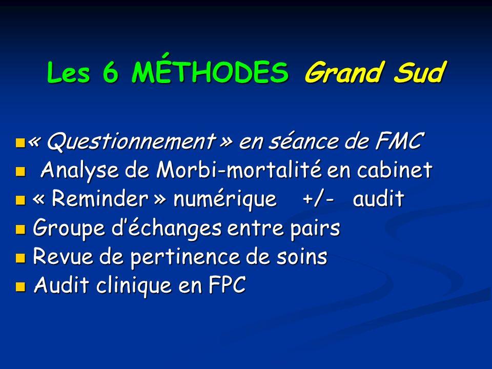 Les 6 MÉTHODES Grand Sud « Questionnement » en séance de FMC « Questionnement » en séance de FMC Analyse de Morbi-mortalité en cabinet Analyse de Morb