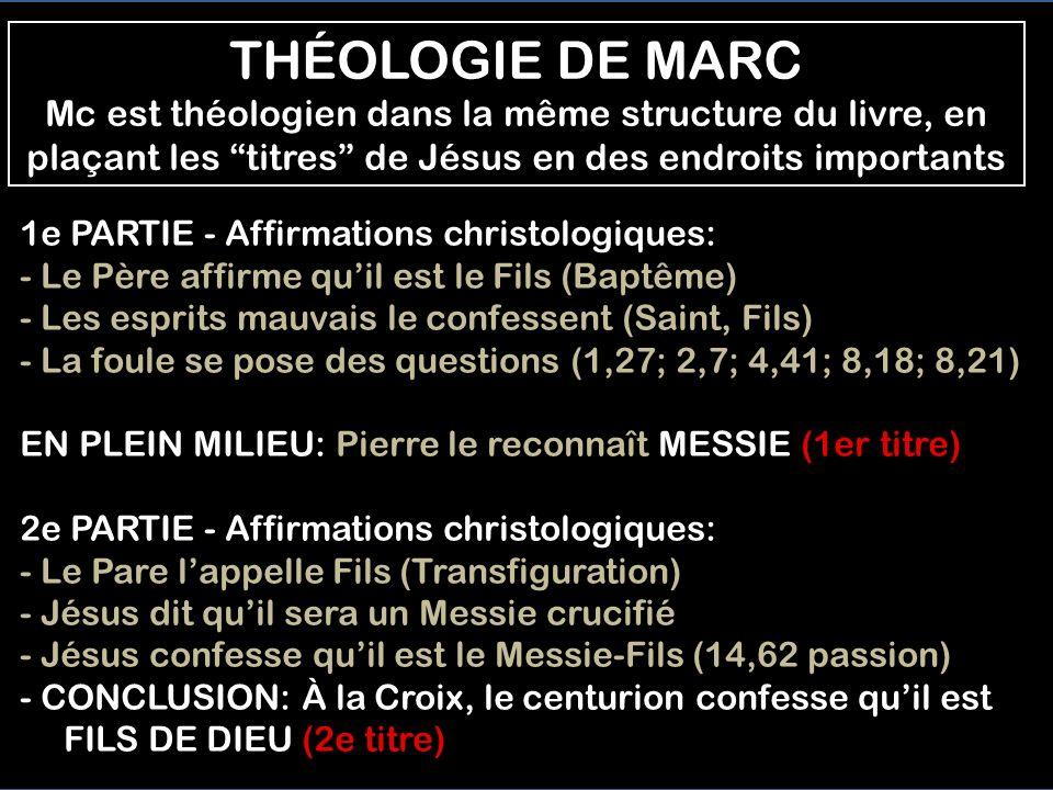 1- Le MESSIE, lOint, pour sauver lhumanité, cest le thème de la 1e partie de lévangile de Mc. 2- Le titre FILS DE DIEU, nous dit que cest Jesús qui re