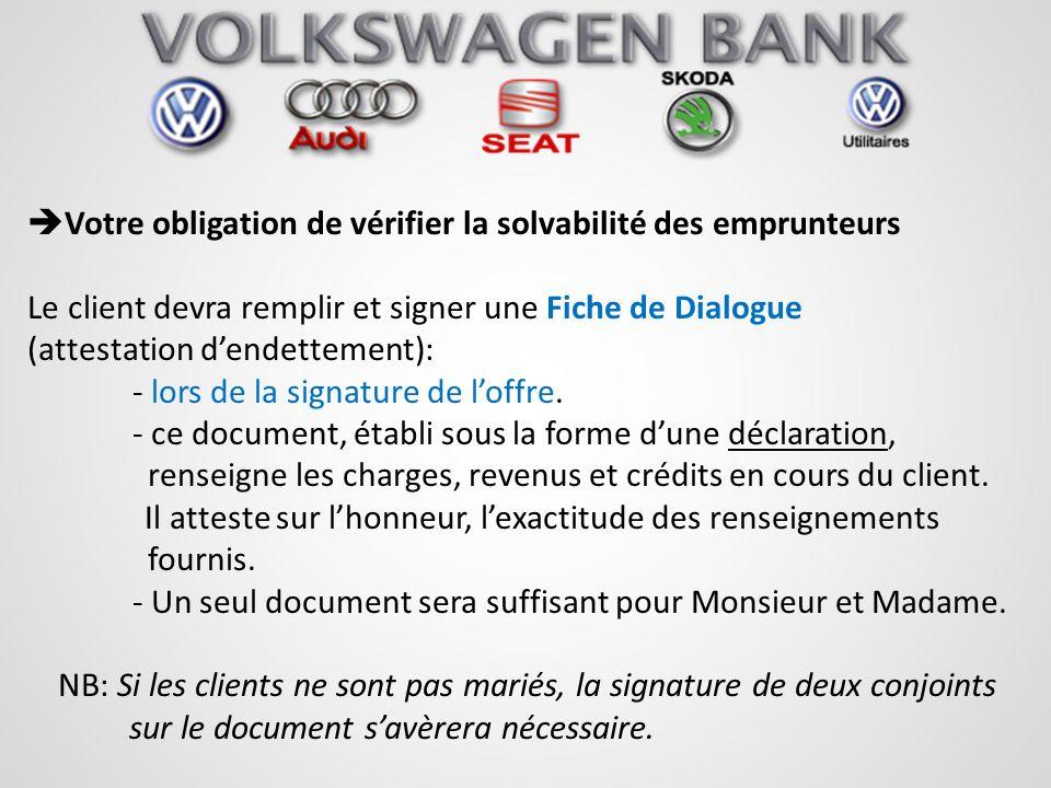 Votre obligation de vérifier la solvabilité des emprunteurs Le client devra remplir et signer une Fiche de Dialogue (attestation dendettement): - lors