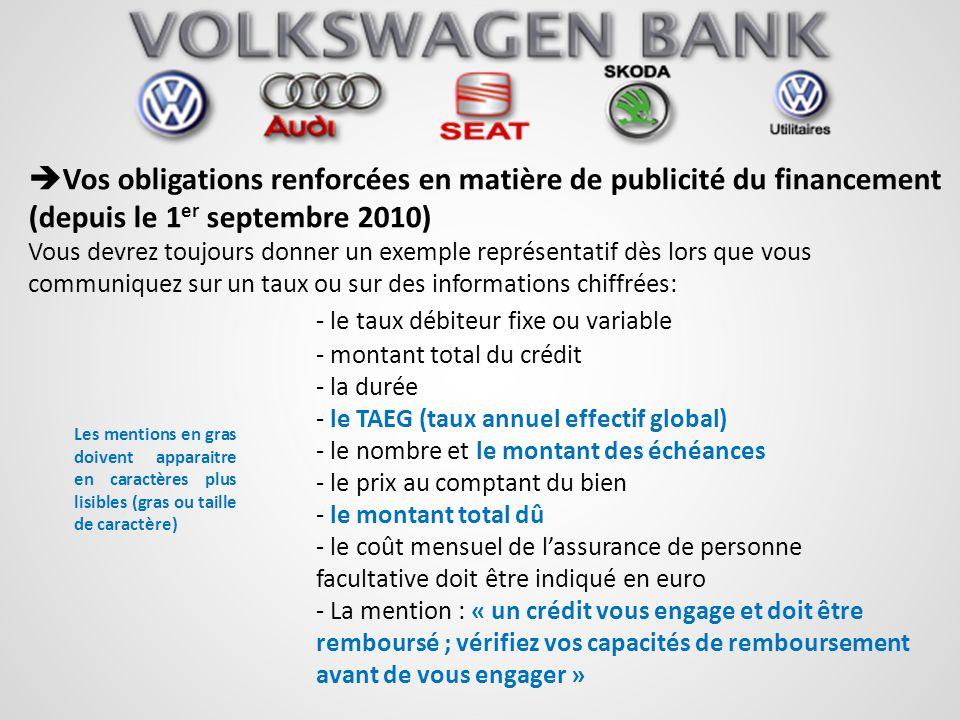Vos obligations renforcées en matière de publicité du financement (depuis le 1 er septembre 2010) Vous devrez toujours donner un exemple représentatif