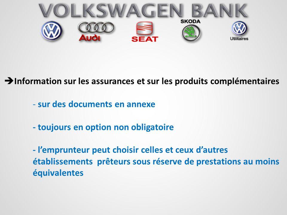 Information sur les assurances et sur les produits complémentaires - sur des documents en annexe - toujours en option non obligatoire - lemprunteur pe