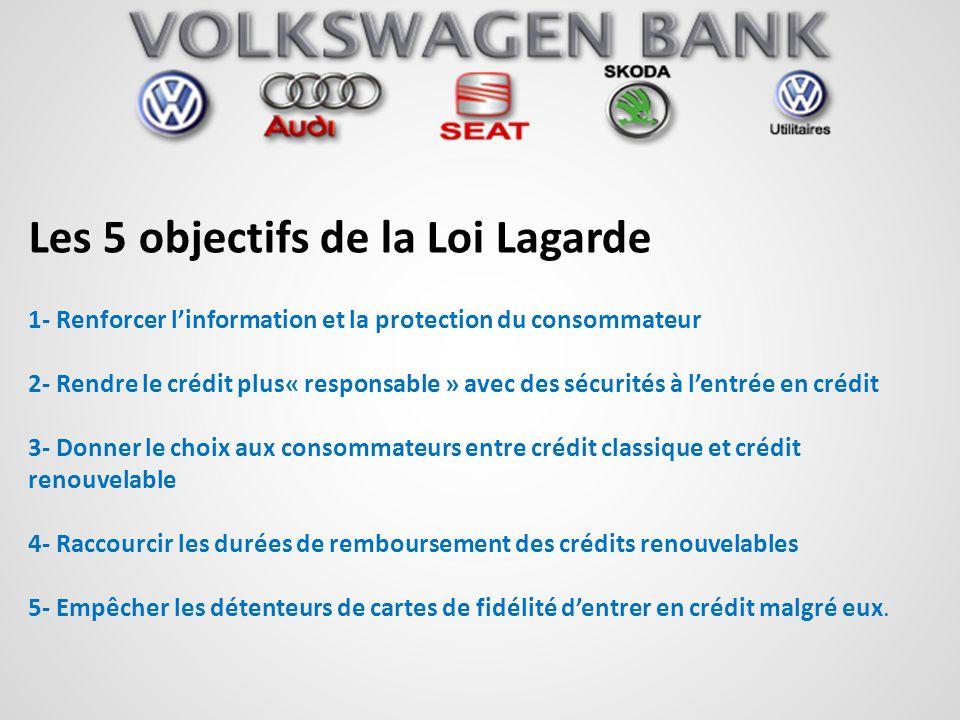 Les 5 objectifs de la Loi Lagarde 1- Renforcer linformation et la protection du consommateur 2- Rendre le crédit plus« responsable » avec des sécurité