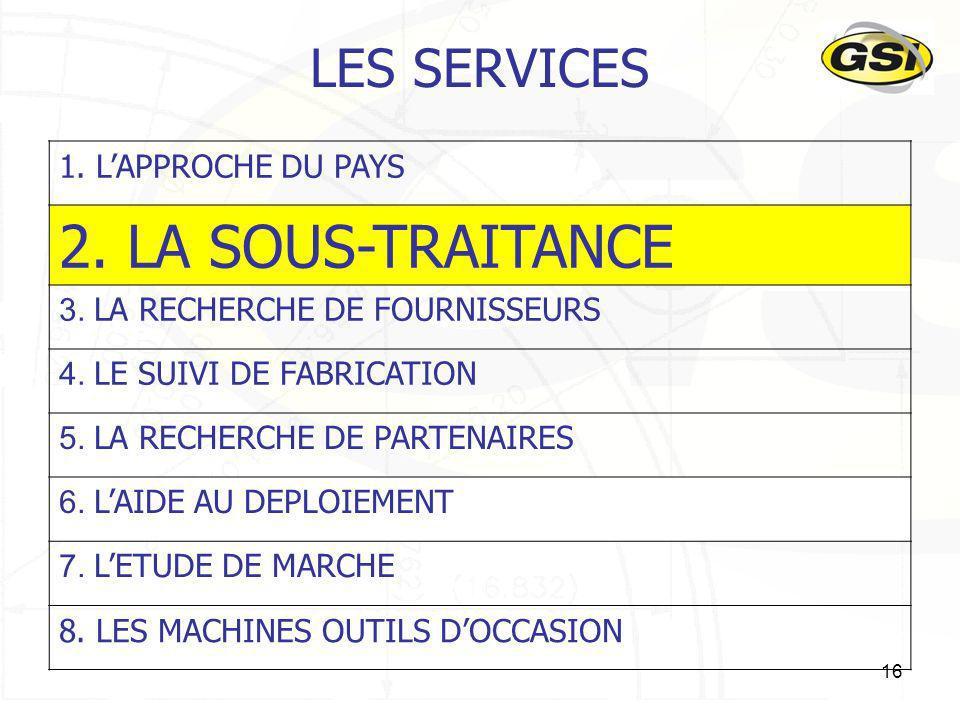 16 LES SERVICES 1. LAPPROCHE DU PAYS 2. LA SOUS-TRAITANCE 3. LA RECHERCHE DE FOURNISSEURS 4. LE SUIVI DE FABRICATION 5. LA RECHERCHE DE PARTENAIRES 6.
