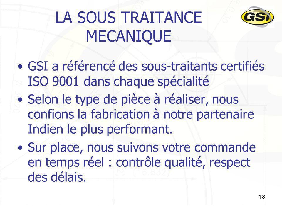 18 LA SOUS TRAITANCE MECANIQUE GSI a référencé des sous-traitants certifiés ISO 9001 dans chaque spécialité Selon le type de pièce à réaliser, nous co