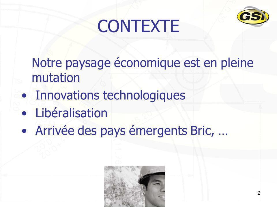 2 CONTEXTE Notre paysage économique est en pleine mutation Innovations technologiques Libéralisation Arrivée des pays émergents Bric, …