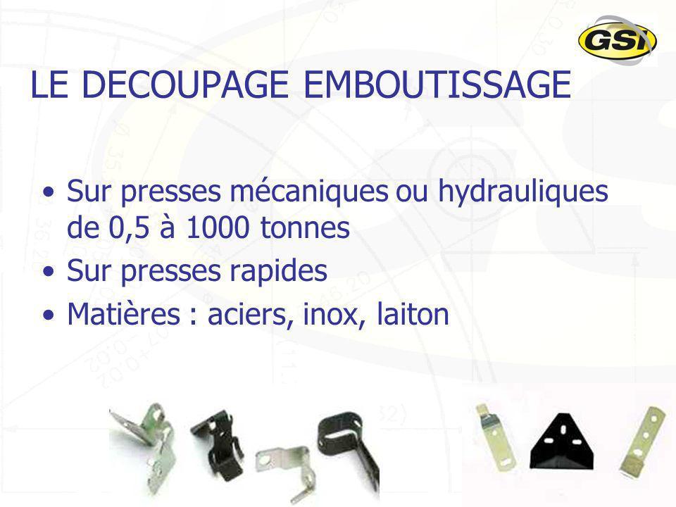 20 LE DECOUPAGE EMBOUTISSAGE Sur presses mécaniques ou hydrauliques de 0,5 à 1000 tonnes Sur presses rapides Matières : aciers, inox, laiton