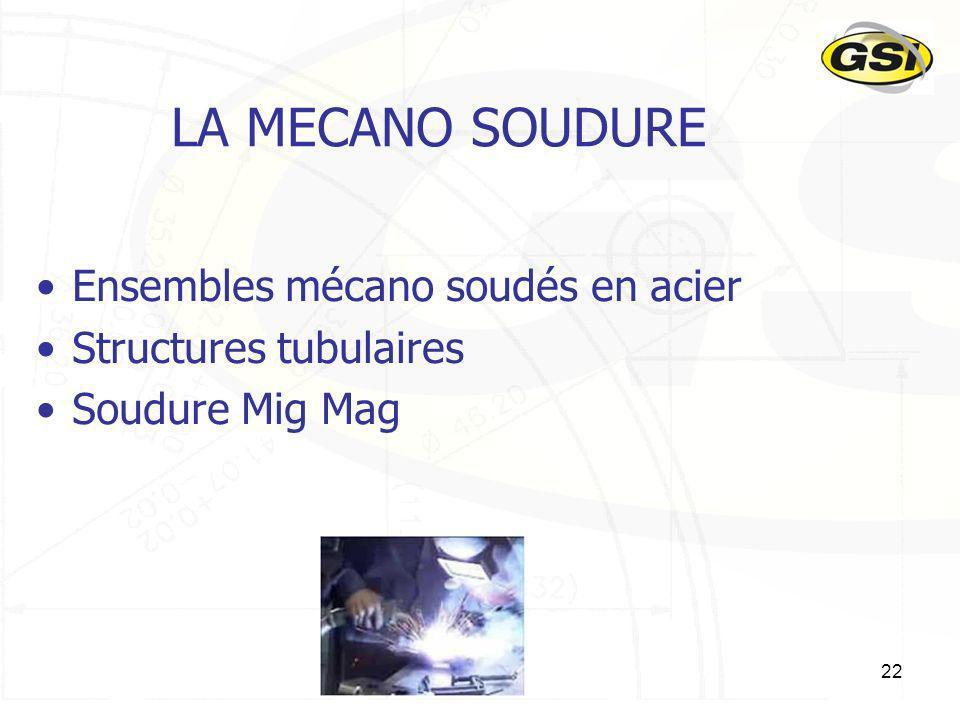 22 LA MECANO SOUDURE Ensembles mécano soudés en acier Structures tubulaires Soudure Mig Mag