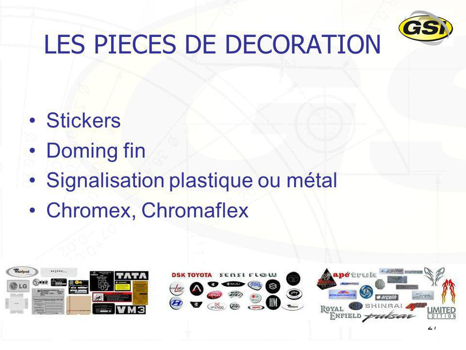 27 LES PIECES DE DECORATION Stickers Doming fin Signalisation plastique ou métal Chromex, Chromaflex