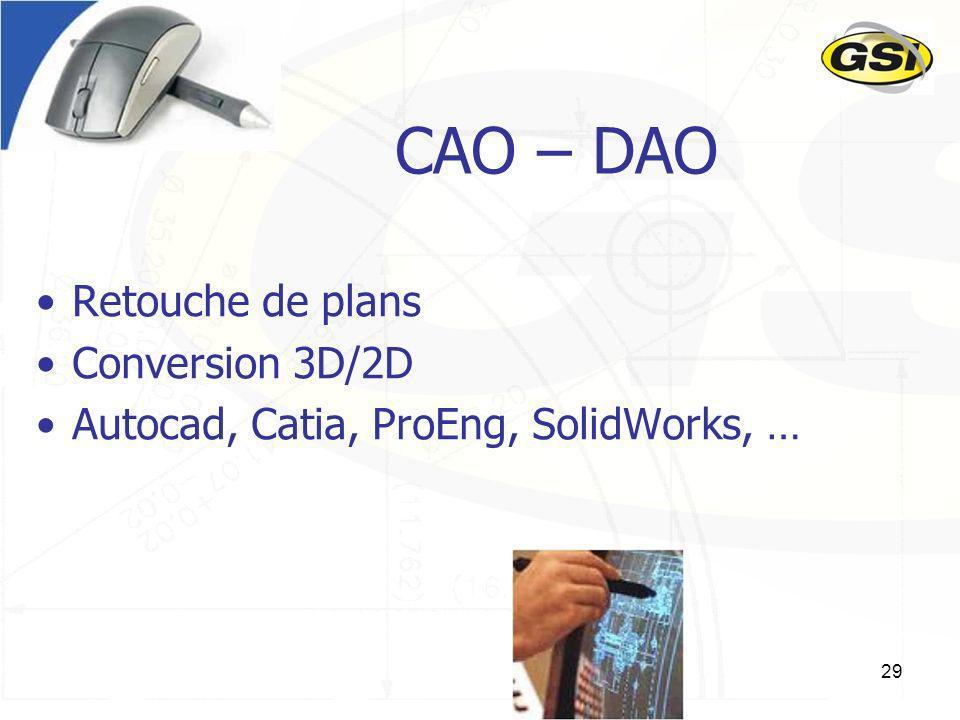 29 CAO – DAO Retouche de plans Conversion 3D/2D Autocad, Catia, ProEng, SolidWorks, …
