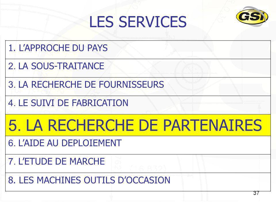 37 LES SERVICES 1. LAPPROCHE DU PAYS 2. LA SOUS-TRAITANCE 3. LA RECHERCHE DE FOURNISSEURS 4. LE SUIVI DE FABRICATION 5. LA RECHERCHE DE PARTENAIRES 6.