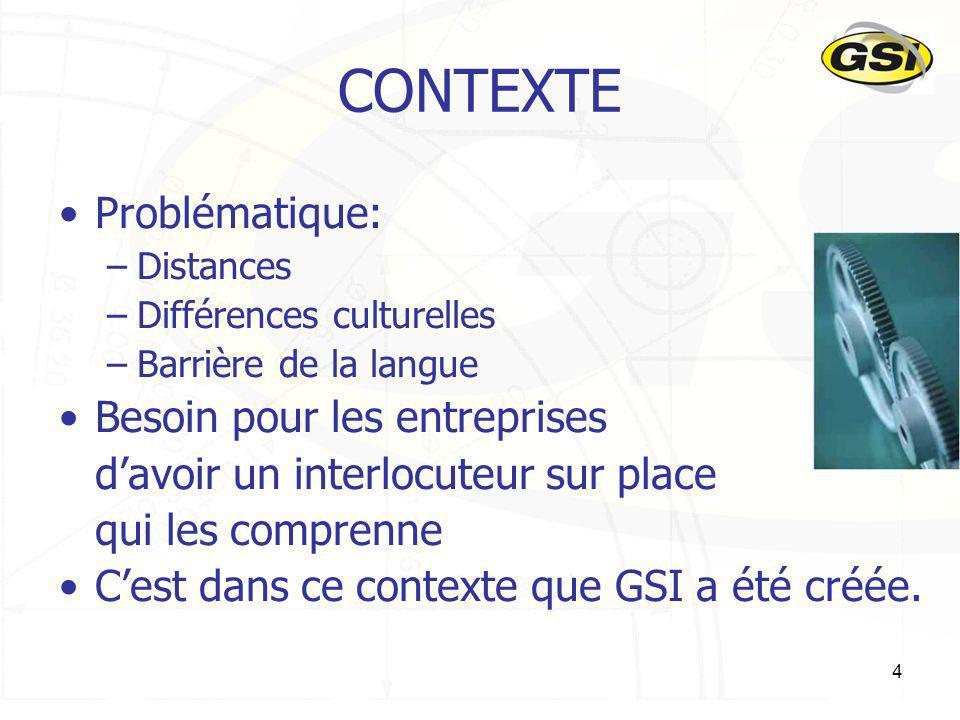 4 CONTEXTE Problématique: –Distances –Différences culturelles –Barrière de la langue Besoin pour les entreprises davoir un interlocuteur sur place qui
