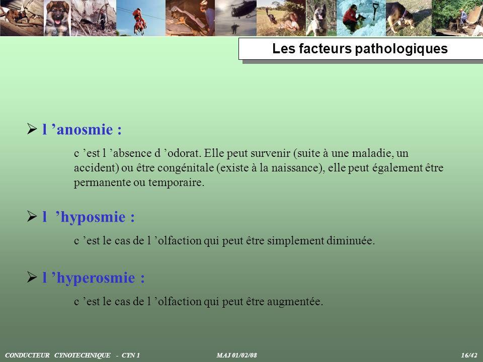 Les facteurs pathologiques l anosmie : c est l absence d odorat. Elle peut survenir (suite à une maladie, un accident) ou être congénitale (existe à l