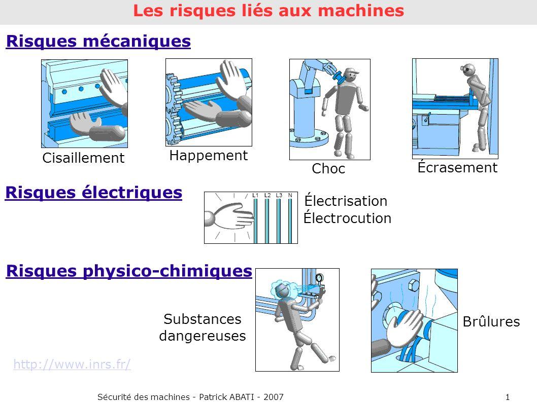 Sécurité des machines - Patrick ABATI - 20071 Risques mécaniques Cisaillement Happement Choc Écrasement Risques électriques Risques physico-chimiques