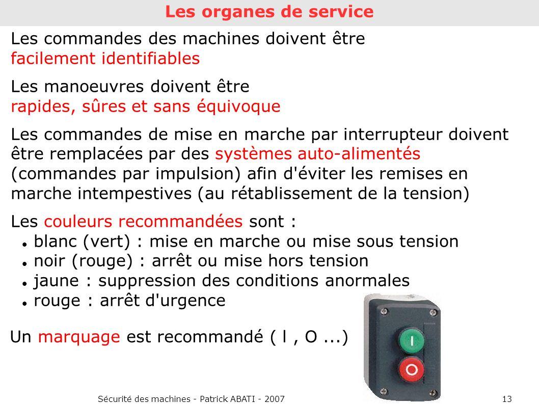 Sécurité des machines - Patrick ABATI - 200713 Les organes de service Les commandes des machines doivent être facilement identifiables Les manoeuvres