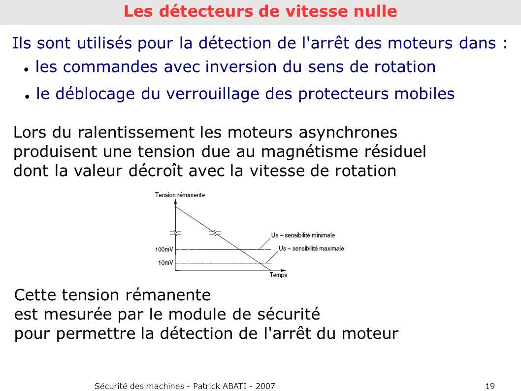 Sécurité des machines - Patrick ABATI - 200719 Cette tension rémanente est mesurée par le module de sécurité pour permettre la détection de l'arrêt du