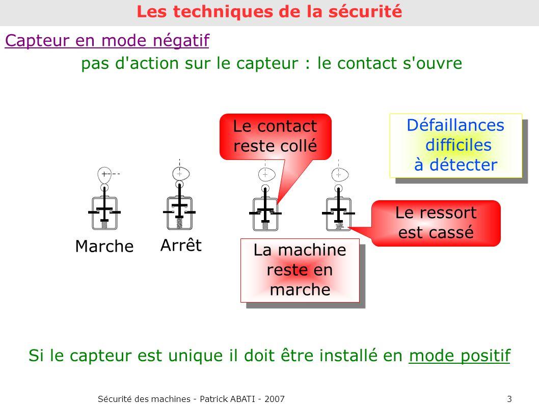 Sécurité des machines - Patrick ABATI - 20073 Capteur en mode négatif Marche Arrêt Si le capteur est unique il doit être installé en mode positif Défa