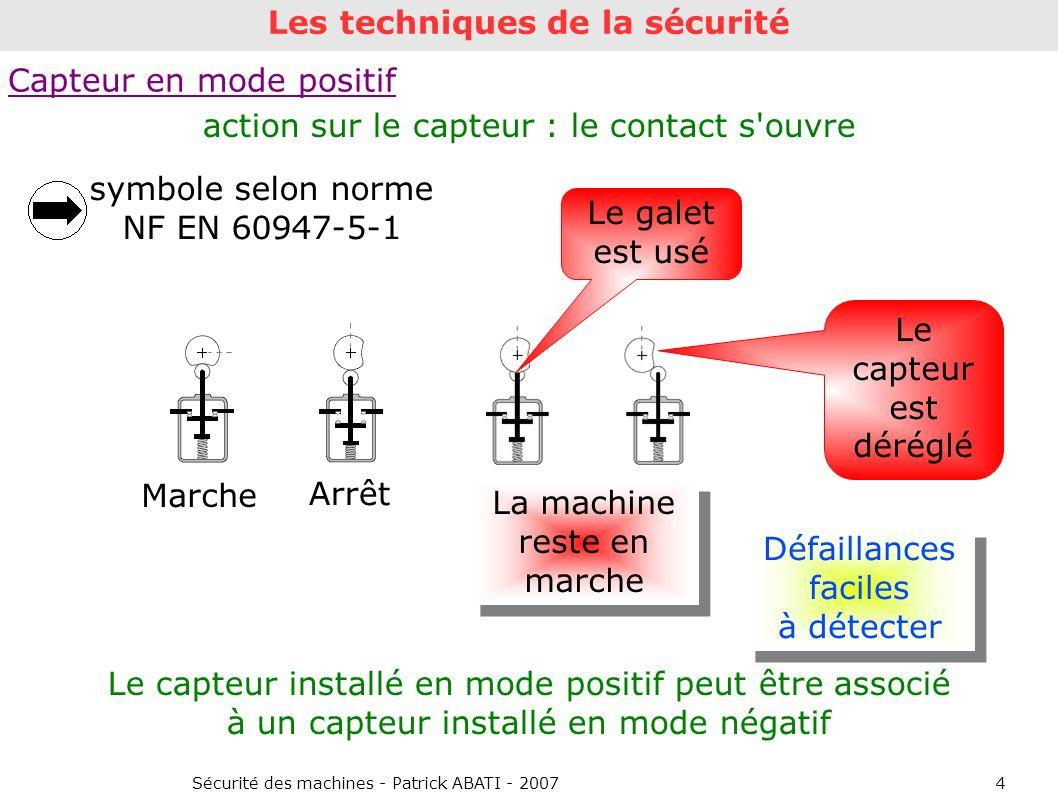 Sécurité des machines - Patrick ABATI - 20074 Défaillances faciles à détecter Capteur en mode positif Marche Arrêt Le capteur installé en mode positif