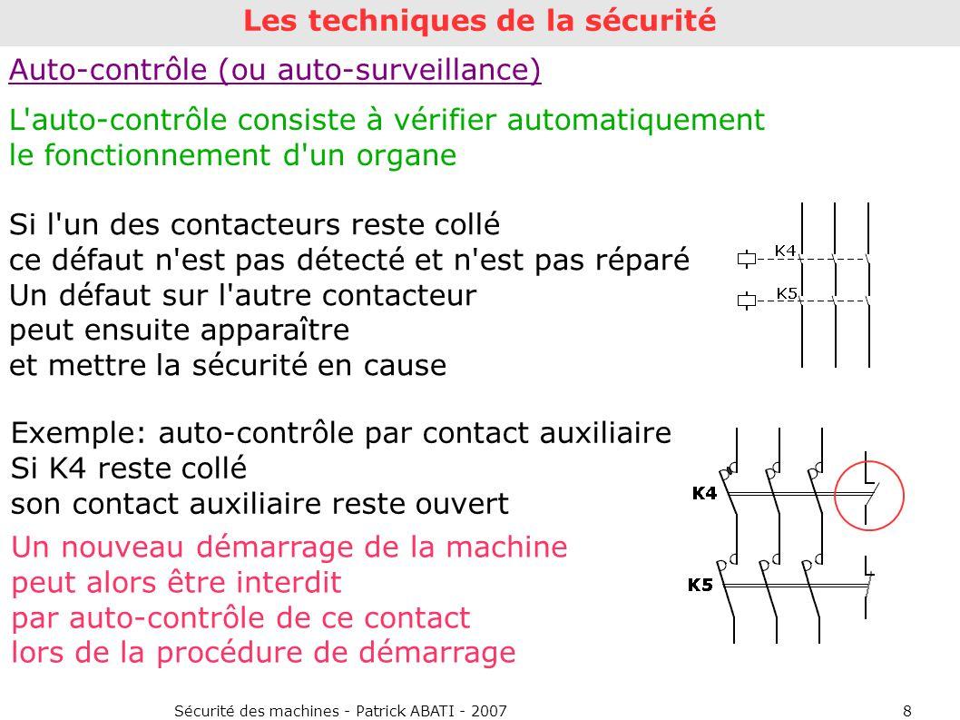 Sécurité des machines - Patrick ABATI - 20078 Auto-contrôle (ou auto-surveillance) L'auto-contrôle consiste à vérifier automatiquement le fonctionneme