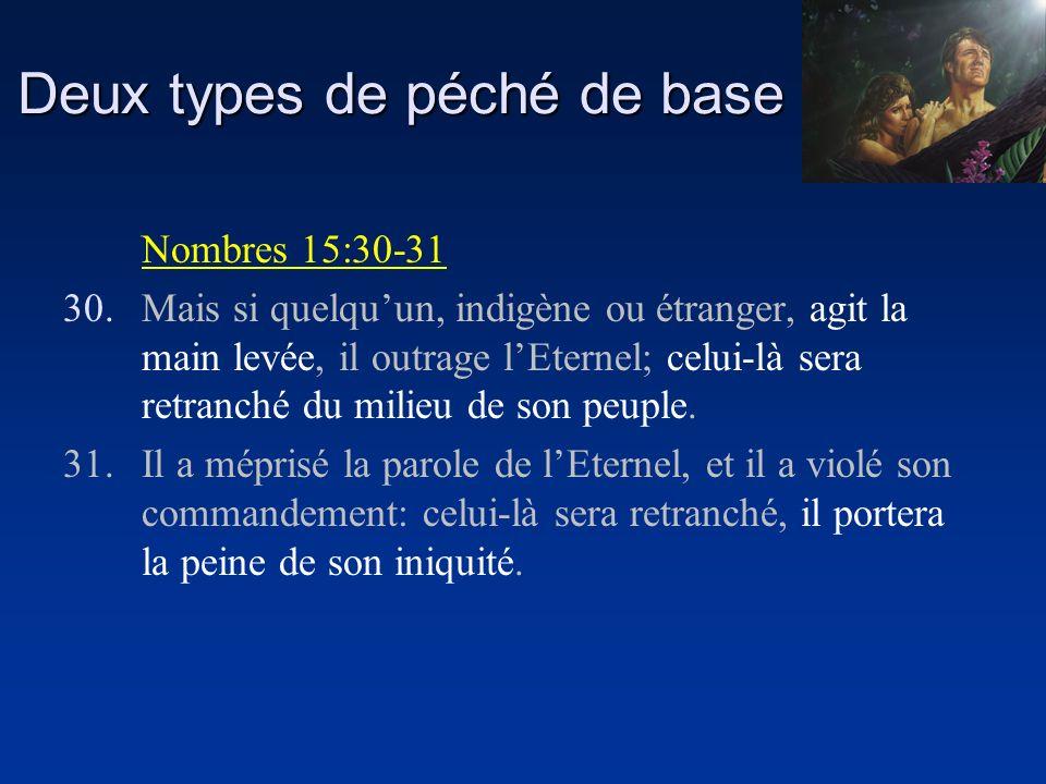 Deux types de péché de base Nombres 15:30-31 30.Mais si quelquun, indigène ou étranger, agit la main levée, il outrage lEternel; celui-là sera retranc
