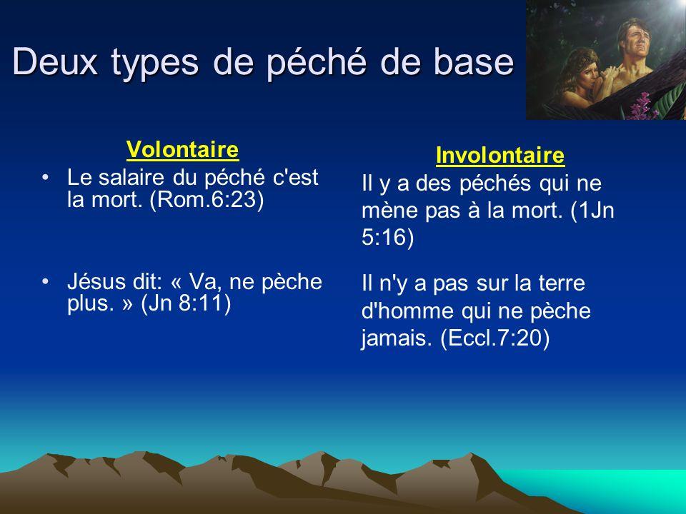 Deux types de péché de base Volontaire Le salaire du péché c'est la mort. (Rom.6:23) Jésus dit: « Va, ne pèche plus. » (Jn 8:11) Involontaire Il y a d