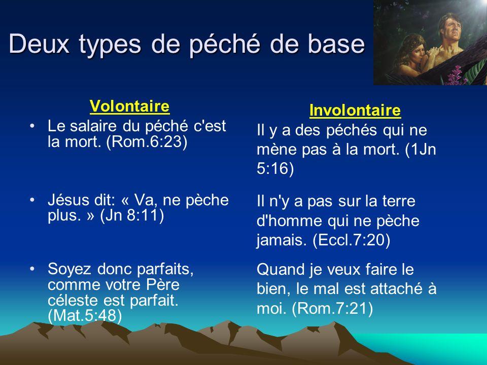 Deux types de péché de base Volontaire Le salaire du péché c'est la mort. (Rom.6:23) Jésus dit: « Va, ne pèche plus. » (Jn 8:11) Soyez donc parfaits,
