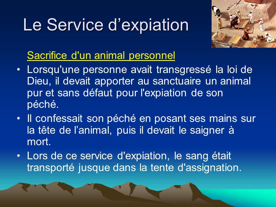 Sacrifice d'un animal personnel Lorsqu'une personne avait transgressé la loi de Dieu, il devait apporter au sanctuaire un animal pur et sans défaut po