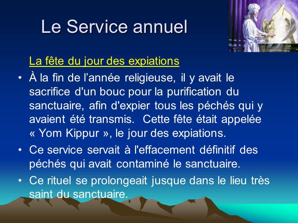 La fête du jour des expiations À la fin de lannée religieuse, il y avait le sacrifice d'un bouc pour la purification du sanctuaire, afin d'expier tous