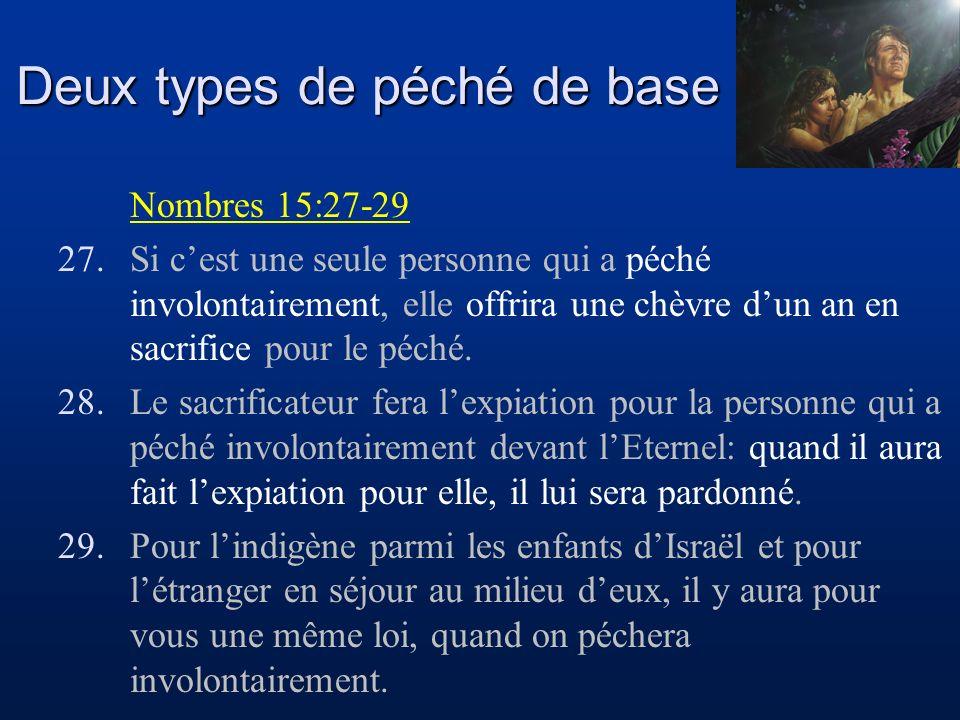 Deux types de péché de base Nombres 15:27-29 27.Si cest une seule personne qui a péché involontairement, elle offrira une chèvre dun an en sacrifice p