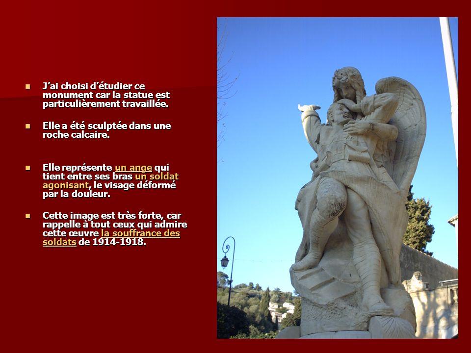 Jai choisi détudier ce monument car la statue est particulièrement travaillée.
